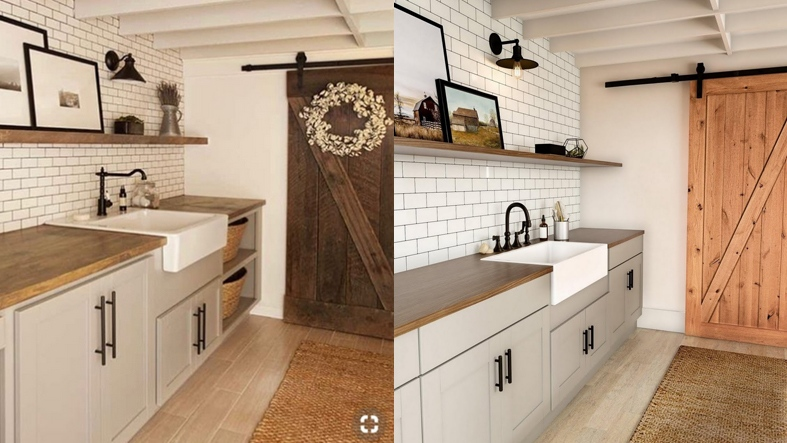 The photo on the left shows a room design by blogger Jenna Sue. The image on the right shows a laundry room created by Home Depot.