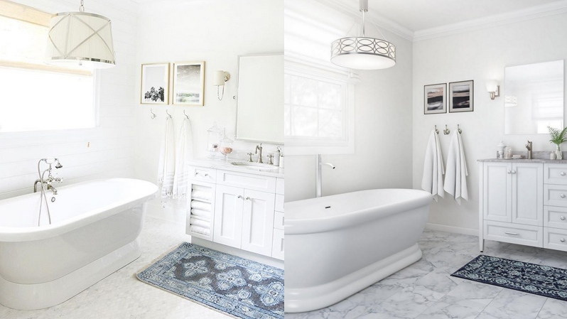 The left photo shows a bathroom designed by Monika Hibbs. The right image is of a bathroom posted on the Home Depot website.