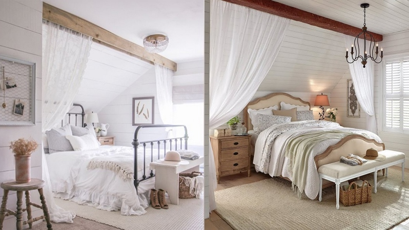 The bedroom on the left was designed by interior designer Liz Fourez. The image on the right was created by Home Depot in the U.S.