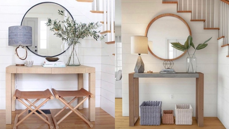 The photo of the foyer on the left was designed by Meredith Rodday. The image on the right was created by Home Depot.