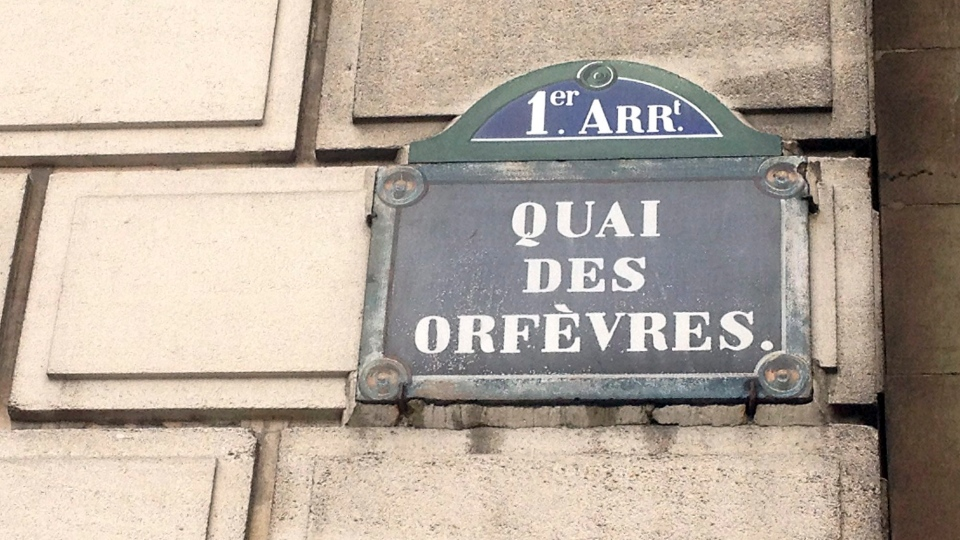 This Friday, Feb. 6, 2015 file picture shows a street sign at the 36 Quai des Orfevres police headquarters in Paris, France. (AP Photo/Francois Mori, File)