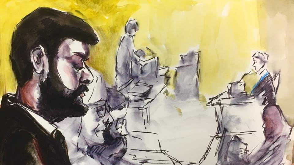 Jaskirat Singh Sidhu, driver of the truck that struck the bus carrying the Humboldt Broncos hockey team is shown during his sentencing hearing in a courtroom sketch, in Melfort, Sask., on Thursday, Jan. 31, 2019. (THE CANADIAN PRESS/Cloudesley Rook-Hobbs)