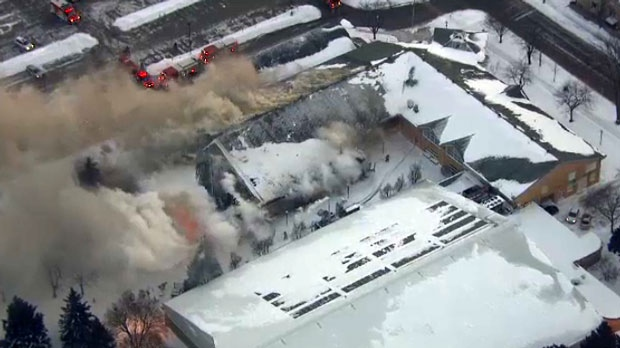 Crews respond to a fire at the Agincourt Recreation Centre on Glen Watford Drive on Jan. 31, 2019.