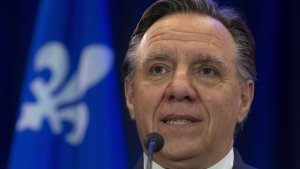 Quebec Premier Francois Legault speaks with the media during a news conference in Gatineau, Que., Wednesday, January 30, 2019. THE CANADIAN PRESS/Adrian Wyld