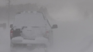 White-out conditions make driving treacherous across Grey County. (CTV News/Roger Klein)