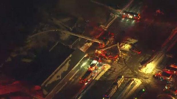 Crews battle a three-alarm blaze at Agincourt Recreation Centre on Jan. 31, 2019.