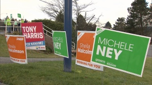 Byelection campaign signs are seen on a lawn in Nanaimo, B.C. in this January 2019 file image.
