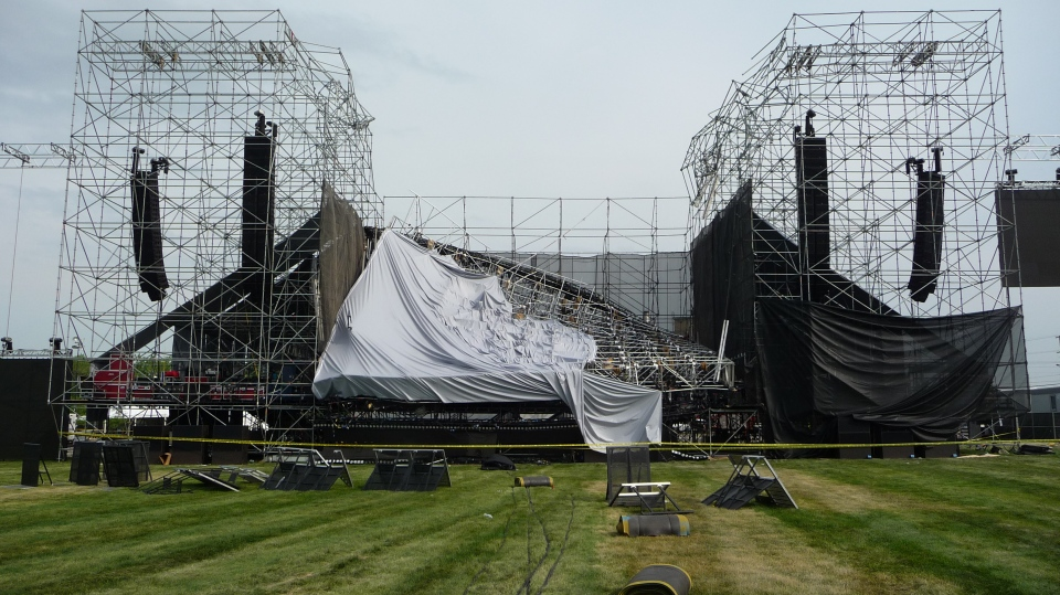 Photo 1 of 3 of the 2012 stage collapse in Downsview, Ontario. (Source: Ontario Ministry of Labour)