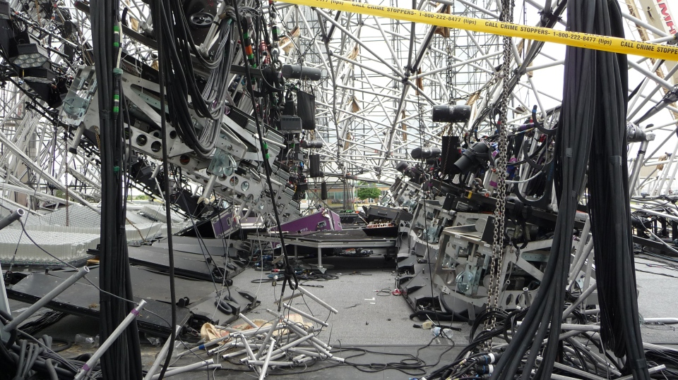 Photo 3 of 3 of the 2012 stage collapse in Downsview, Ontario. (Source: Ontario Ministry of Labour)