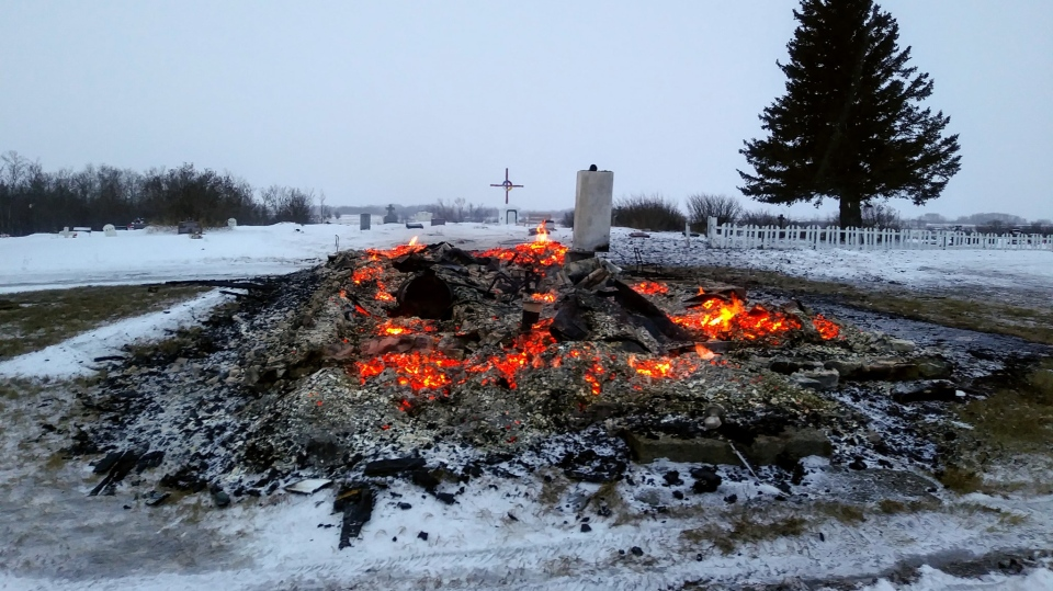 The Catholic church on Peepeekisis Cree Nation burned to the ground. (Courtesy: Ernie Dieter)