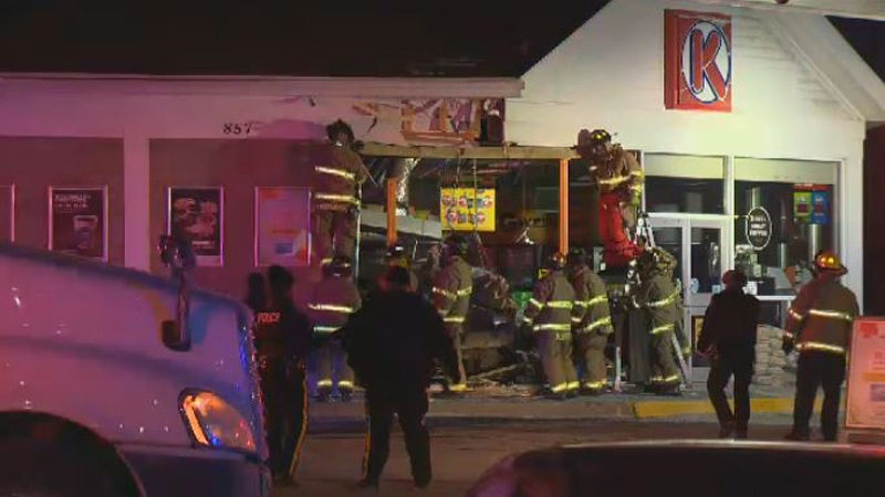 Two people were injured after a truck crashed into a Circle K convenience store in Lower Sackville, N.S., on Jan. 31, 2019.