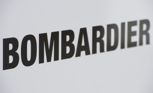 A Bombardier logo is shown at a Bombardier assembly plant in Mirabel, Que., Friday, October 26, 2018. THE CANADIAN PRESS/Graham Hughes