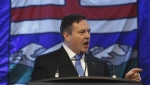 United Conservative Party leader Jason Kenney speaks to supporters after being sworn in as MLA for Calgary-Lougheed, in Edmonton on January 29, 2018. (THE CANADIAN PRESS/Jason Franson)