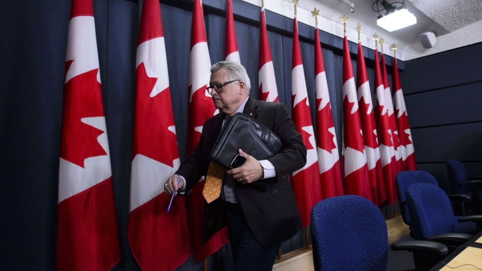 Minister of Public Safety and Emergency Preparedness, Ralph Goodale, leaves following an announcement regarding safeguards to Canada's democracy and combatting foreign interference during a press conference in Ottawa on Wednesday, Jan. 30, 2019. THE CANADIAN PRESS/Sean Kilpatrick