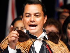 Newly elected Assembly of First Nations national chief Shawn Atleo, a Hereditary Chief from the Ahousaht First Nation in B.C., delivers his acceptance speech after becoming the national chief at the AFN's annual general assembly in Calgary, Thursday, July 23, 2009.  (Jeff McIntosh / THE CANADIAN PRESS)