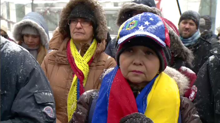 Montrealers gathered at Quartier des Spectacles Saturday afternoon to rally for Venezuela's return to a pre-Maduro era. (CTV Montreal)