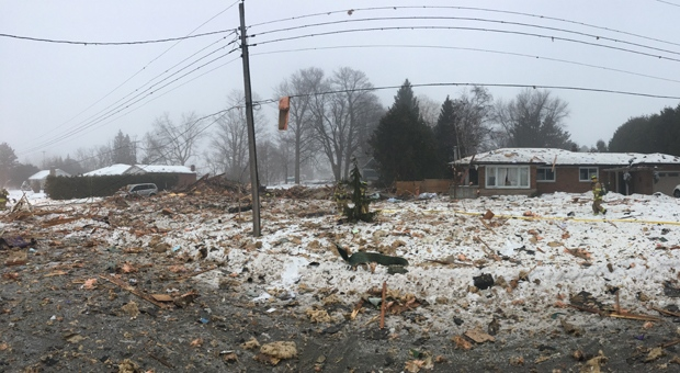 One person is dead after a home in Caledon was leveled by an explosion early Sunday morning. (PHOTO: OPP)