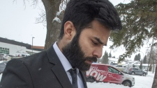 Jaskirat Singh Sidhu, the driver of the truck that collided with the bus carrying the Humboldt Broncos hockey team leaves closing arguments at his sentencing hearing Thursday, January 31, 2019 in Melfort, Sask. (THE CANADIAN PRESS / Ryan Remiorz)