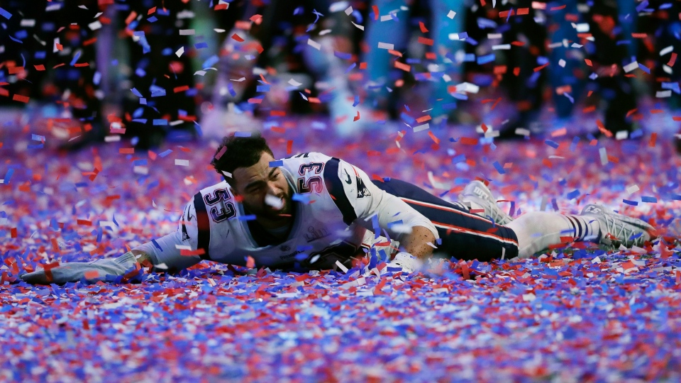 New England Patriots' Kyle Van Noy celebrates in confetti on the turf after the NFL Super Bowl 53 football game against the Los Angeles Rams, Sunday, Feb. 3, 2019, in Atlanta. The Patriots won 13-3. (AP Photo/John Bazemore)