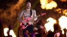 Adam Levine of Maroon 5 performs during halftime of the NFL Super Bowl 53 football game between the Los Angeles Rams and the New England Patriots Sunday, Feb. 3, 2019, in Atlanta. (AP Photo/Mark Humphrey)