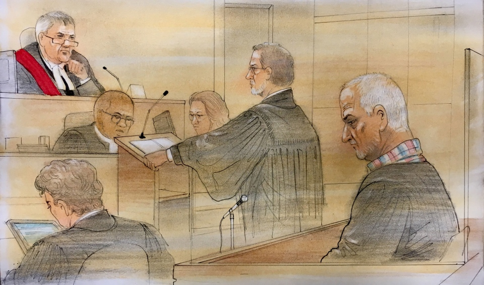 Bruce McArthur appears in court for the first of a three-day sentencing hearing on February 4, 2019. (Sketch by John Mantha)