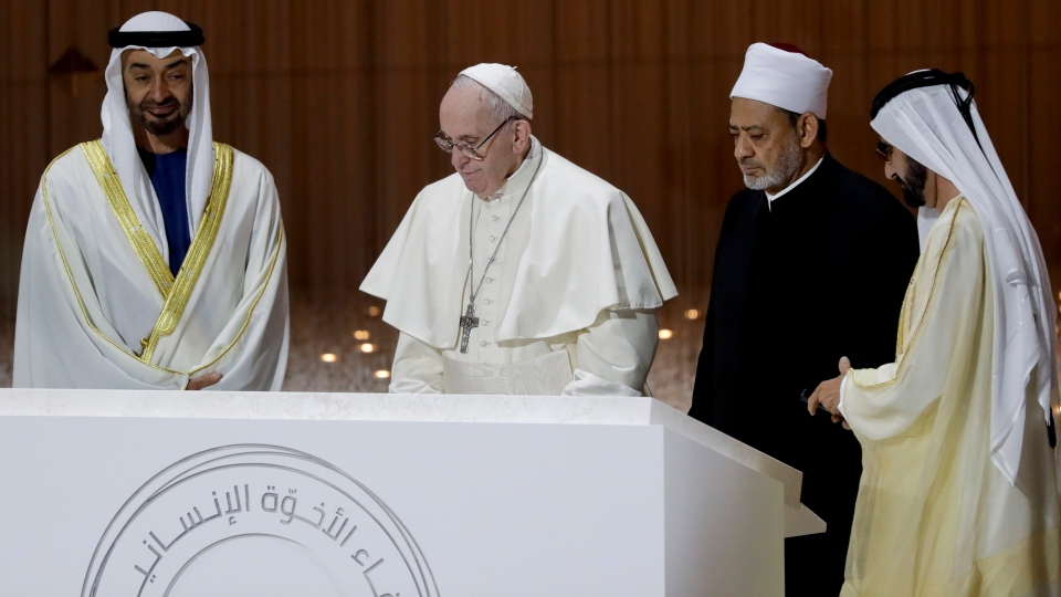 From left, Crown Prince Sheikh Mohammed bin Zayed, Pope Francis, Sheikh Ahmed el-Tayeb, the grand imam of Egypt's Al-Azhar and Sheikh Mohammed bin Rashid al Maktoum attend an Interreligious meeting at the Founder's Memorial in Abu Dhabi, United Arab Emirates, Monday, Feb. 4, 2019. (AP Photo/Andrew Medichini)