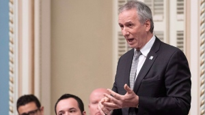 Quebec Agriculture, Fisheries and Food Minister Andre Lamontagne responds to the Opposition during question period Tuesday, December 4, 2018 at the legislature in Quebec City. THE CANADIAN PRESS/Jacques Boissinot