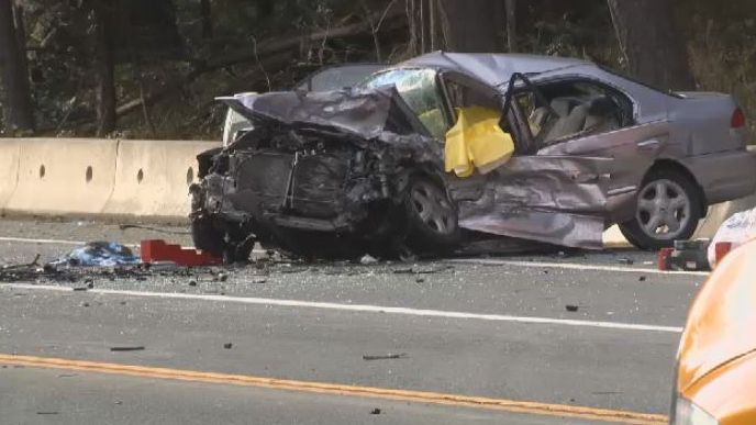 Police say a southbound BMW crashed head-on with a northbound Acura on the Trans-Canada Highway Sunday, Feb. 3, 2019. (CTV Vancouver Island)