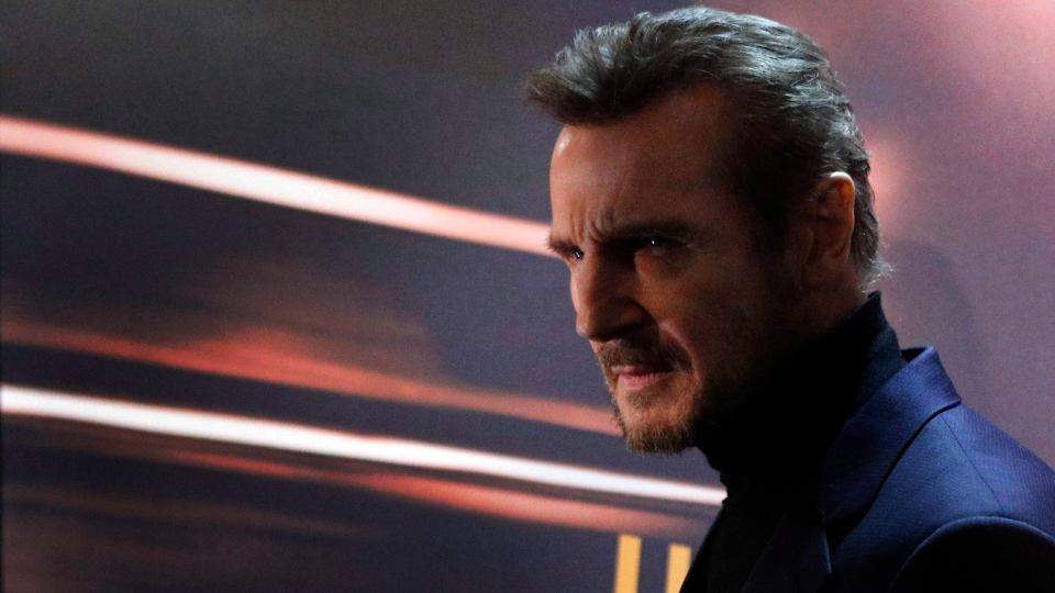 Liam Neeson attends the France's premiere of 'The Commuter', in Paris, Tuesday, Jan. 16, 2018. (AP Photo/Francois Mori)