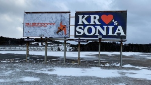 Billboards are seen near Conception Bay South, N.L. in this undated handout photo. (THE CANADIAN PRESS/HO, Lee Stewart)