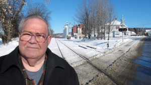 In this Jan. 17, 2019 photo, former town police chief Richard Jewett talks about the night in 1987 when he apprehended a man who carried a bomb across the border from Canada into the United States in Richford, Vt.. (AP Photo/Wilson Ring)