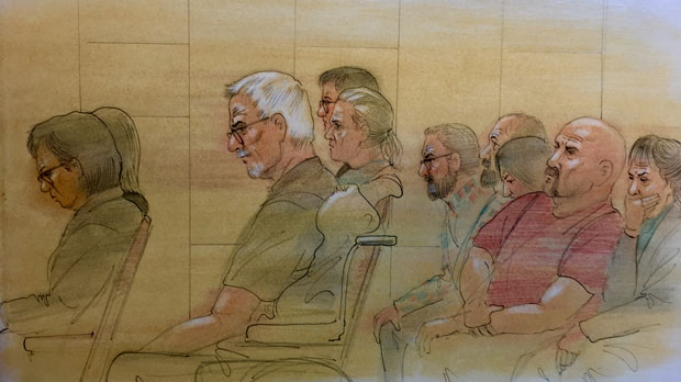 The family members of Bruce McArthur's victims sit in court on Feb. 4, 2019. (John Mantha)
