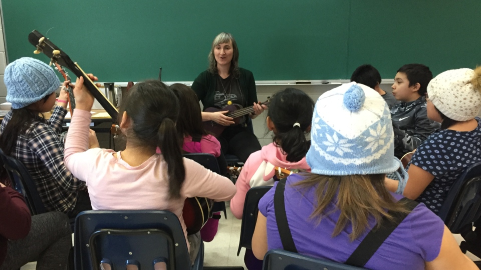 Eliza Doyle has been in Stanley Mission, a small community north of La Ronge, giving free music lessons to students and residents. (Holly Giesbrecht/CTV Prince Albert)