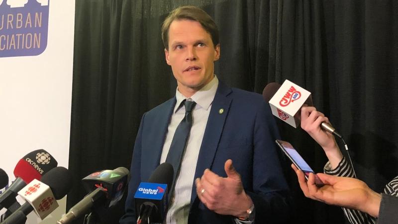 Saskatoon Mayor Charlie Clark addresses reporters Feb. 4, 2019. (Francois Biber/CTV Saskatoon)
