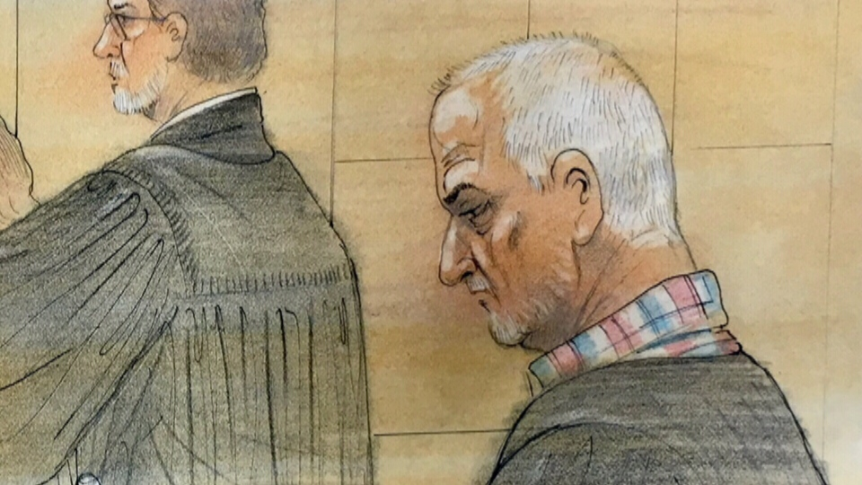 Bruce McArthur in court (Sketch by John Mantha)