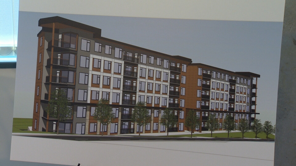 An artist's rendering of the new affordable rental units is shown.