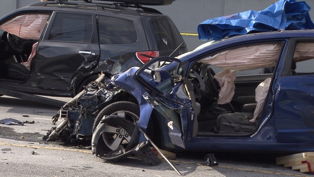 Car crash on Clark Drive