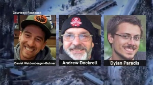 Conductor Dylan Paradis, engineer Andrew Dockrell  and trainee Daniel Waldenberger-Bulmer were killed in a train derailment on February 4, 2019. (Facebook)