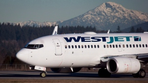 A pilot taxis a WestJet Boeing 737-700 plane to a gate after arriving at Vancouver International Airport in Richmond, B.C., on February 3, 2014. (THE CANADIAN PRESS/Darryl Dyck)