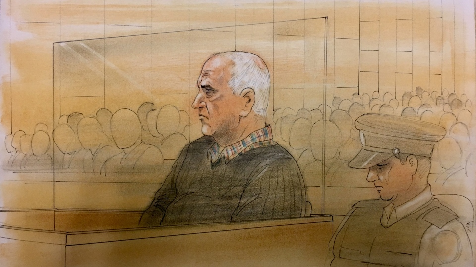 Toronto serial killer Bruce McArthur appears in court on the second day of his sentencing hearing on February 5, 2019. (Sketch by John Mantha)