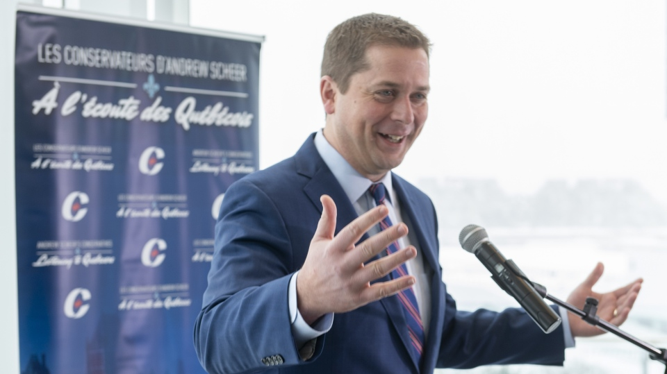 Conservative Leader Andrew Scheer responds to a question during a news conference in Montreal on Monday, January 21, 2019. THE CANADIAN PRESS/Paul Chiasson