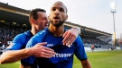 Darmstadt's Terrence Boyd celebrates his side's opening goal during a German first division Bundesliga soccer match between SV Darmstadt 98 and Borussia Dortmund in Darmstadt, Germany, Saturday, Feb. 11, 2017. Toronto FC has confirmed the signing of U.S. international forward Boyd. THE CANADIAN PRESS/AP/Michael Probst