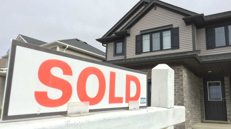 A sold sign sits outside a home in St. Thomas, Ont. on Tuesday, Feb. 5, 2019. (Bryan Bicknell / CTV London)