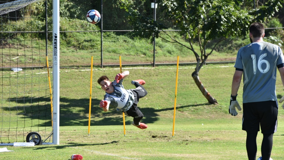 The Vancouver Whitecaps take part in an intense training session at the University of Hawaii on Feb. 5, 2019.