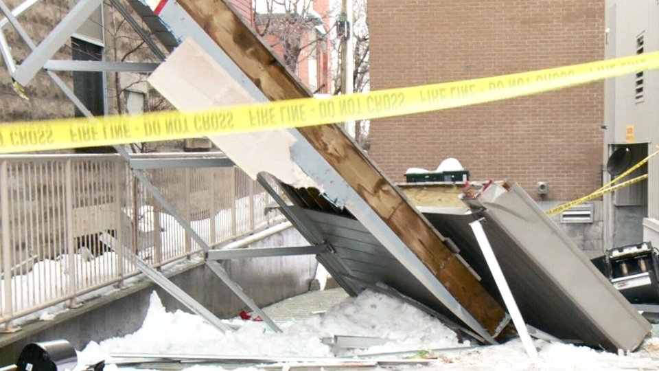 The city of Ottawa is investigating a condo building after three balconies collapsed Tuesday morning with no one on them, leaving a pile of debris in the laneway. (CTV)