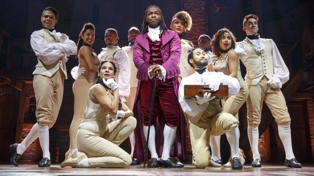 """The cast of the Chicago production of """"Hamilton,"""" is shown in a handout photo. Plays based on """"Room,"""" and the musical smash """"Hamilton"""" are to hit Mirvish theatres next year. (THE CANADIAN PRESS/HO-Joan Marcus)"""
