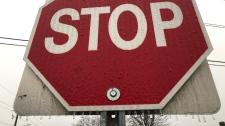 Stop sign freezing rain