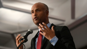 Minister of Immigration, Refugees and Citizenship Ahmed Hussen speaks at the Black History Month reception in Ottawa on Monday, Feb. 4, 2019. THE CANADIAN PRESS/Justin Tang