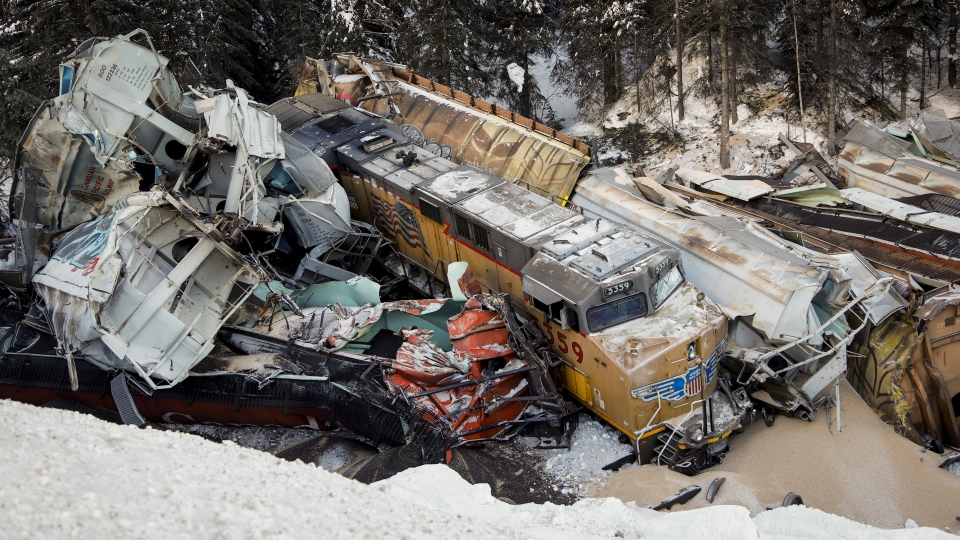 A train derailment is shown near Field, B.C., Monday, Feb. 4, 2019. THE CANADIAN PRESS/Jeff McIntosh
