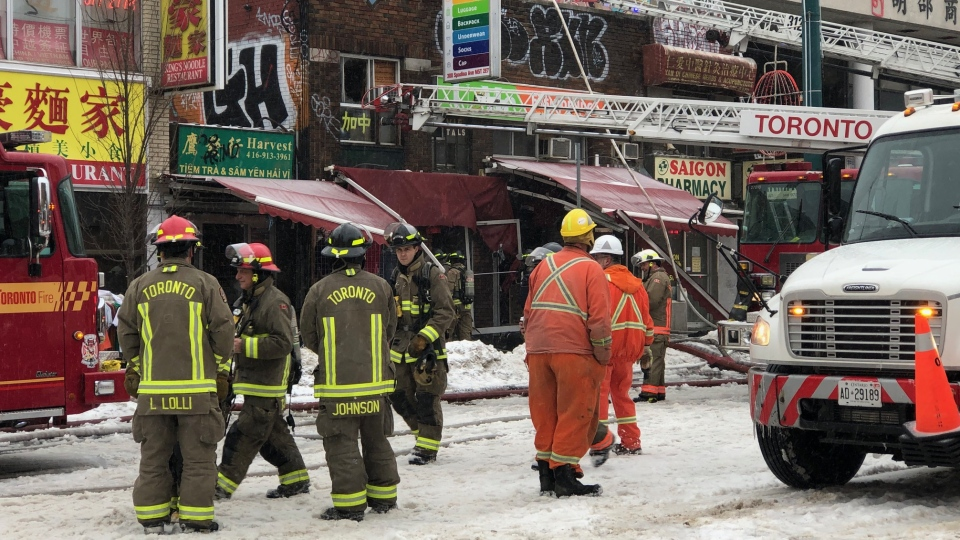 A three-alarm fire at a commercial building in Chinatown on February 6, 2019. (Peter Muscat/CTV News Toronto)